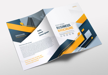 Brochure Layout with Yellow and Blue Accents
