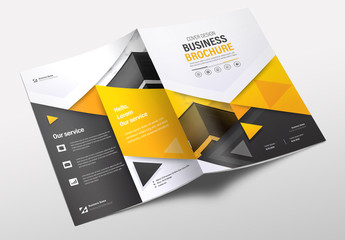 Brochure Layout with Yellow and Gray Accents