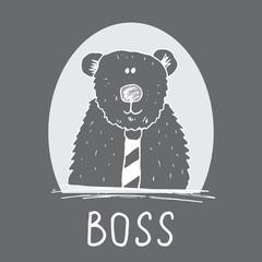 Cute Bear hand drawn sketch, T-shirt print design for kids vector iillustration