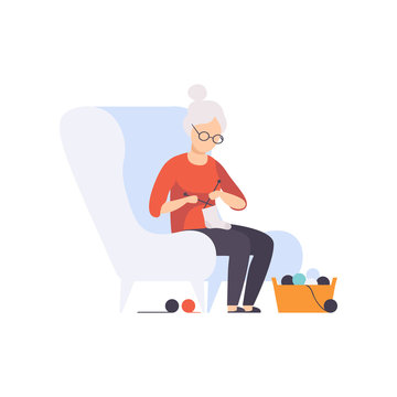 Senior woman character sitting in armchair and knitting, elderly people leading an active lifestyle social concept vector Illustration on a white background