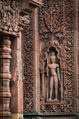 UNESCO World Heritage Site in Cambodia of the temple at Banteay Srei