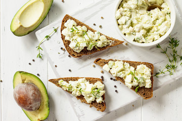 Avocado sandwiches. Traditional latinamerican mexican sauce guacamole. Healthy fat, omega 3. Top view flat lay background, copy space.