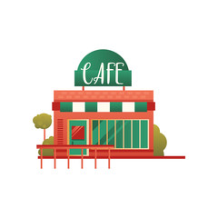 Small street cafe, city public building, front view vector Illustration on a white background