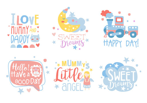 Cute hand drawn decor elements with motivation phrases, card templates for baby shower, kids party, baby products vector Illustrations on a white background