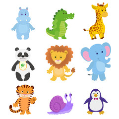 Cute animals hippopotamus crocodile giraffe panda lion elephant tiger snail penguin
