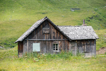 Old wooden cabin in the high apls, carinthia, austria