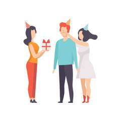 Female friends giving gift box decorated with red ribbon bow to young man in party hat, people celebrating the holiday, congratulations to a friend vector Illustration on a white background