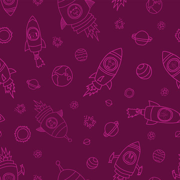 Space animals on pink seamless vector background. Rocket ships. Astronaut mouse, cat, giraffe, dog, and lion in rocket ships. Space themed kids pattern. Great for girls, paper, fabric, back to school