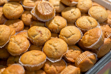 Mini banana cup cake sold at the market.