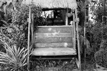 Black and white picture wooden seat