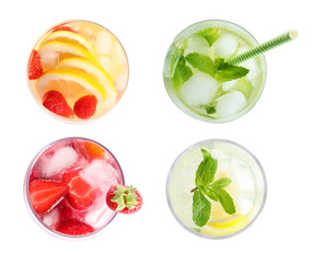 Set with fresh lemonade on white background, top view