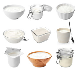 Set with delicious yogurt on white background