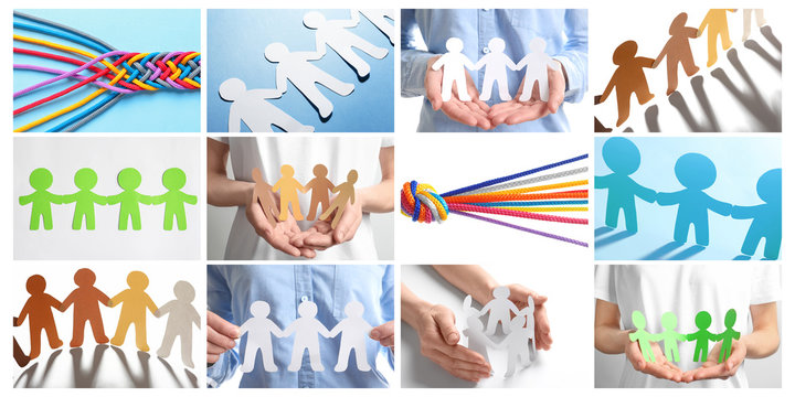 Set with paper people holding hands together and color cords. Unity concept