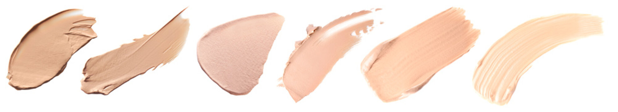 Makeup product smears on white background. Color set of foundation