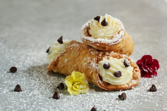 Cannoli with Ricotta cheese filling / Italian Pastry, selective focus