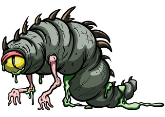 Funny larva monster/ Illustration amorphous cartoon worm creature with one eye