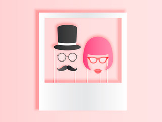 Photo booth items for couple in paper art style with pastel color scheme