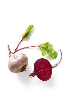 Beetroot on the white background. Flat lay. Food concept