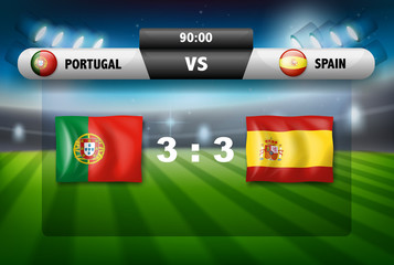 Protugal VS Spain scoreboard