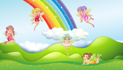 Fairies with rainbow scene