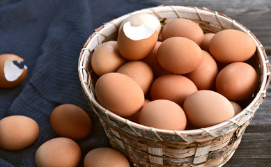 Healthy and benefits of chicken egg..Many chicken eggs in basket on wooden background.
