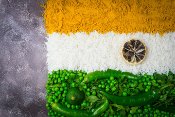 Indian flag with vegetables and rice. Vegetarian indian food. Top view. Gray background