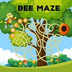 Wall Murals Kids fun bee maze concept