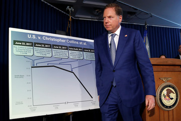 U.S. Attorney for the Southern District of New York Geoffrey Berman walks to a chart during a news conference in New York