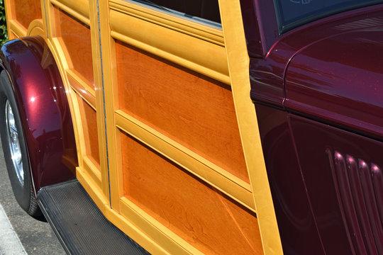 Side of Vintage Woodie Car