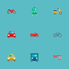 Set of transport icons flat style symbols with helicopter, car, bike and other icons for your web mobile app logo design.