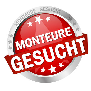Button with banner Monteure gesucht