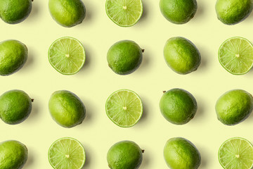 Colorful fruit pattern of limes Wall mural