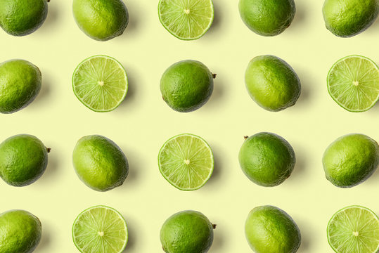 Colorful fruit pattern of limes