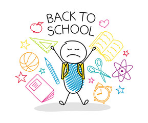 School concept with cartoon character - back to school. Vector.