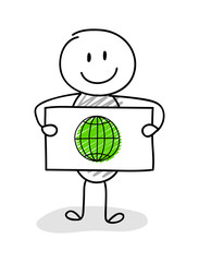 Funny stickman with globe icon. Vector.