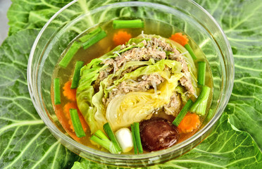 Stuffed cabbage clear soup with minced pork (Thai clear soup with vegetable)