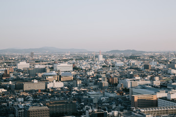 cityscape of Kyoto with sunrise in film vintage style