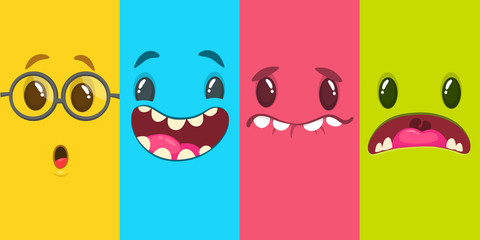 Cartoon monster faces set. Vector set of four Halloween monster faces. Mock up for package design