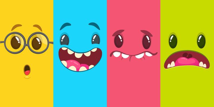 Cartoon monster faces set. Vector set of four Halloween monster faces. Mock up for package design