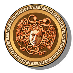 The engraved head of Medusa Gorgon head isolated on white background. Cartoon vector close-up illustration.