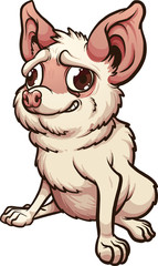 Anxious cartoon chihuahua sitting down. Vector clip art illustration with simple gradients. All in a single layer.
