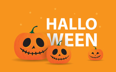Happy Halloween creative concept design with orange colors