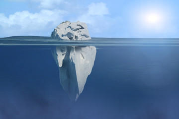 3D Illustration of iceberg under water