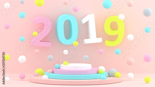 2019 new year wallpaper 3d background abstract shapes 3d year of earth pig