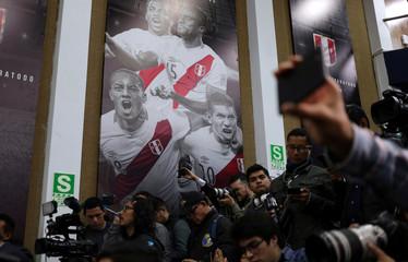 Journalist attend Peru's soccer coach Ricardo Gareca's news conference in Lima