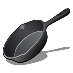 Cartoon cast iron skillet with non-stick coating isolated on white background. Vector illustration.