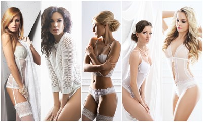 White underwear collection. Sexy brides in erotic lingerie. Underwear collage.