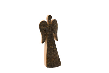 Wood angel with bark isolated with copy space