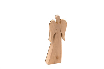 Wood angel brightly isolated with copy space