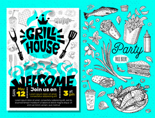 Grill House Party BBQ food poster. Grilled food, meat fish vegetables grill appliance fork knife chicken shrimps lemon spice. Hand drawn vector illustration.